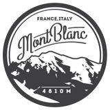 MontBlanc openlucht het avonturenkenteken in van Alpen, Frankrijk, Italië Hoogste berg in de illustratie van Europa stock illustratie