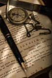 Montblanc pen en een horloge royalty-vrije stock afbeeldingen