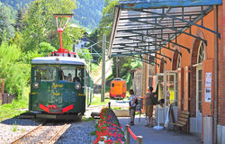 Montblanc tramway, France. SAINT GERVAIS, FRANCE - AUGUST 5: Old fashioned Montblanc tramway goes through the Saint Gervais town on August 5, 2015. The Mont Stock Photography