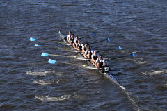 Montclair Crew races in the Head of Charles Regatta Men`s Youth Eight Royalty Free Stock Images