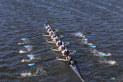 Montclair Crew races in the Head of Charles Regatta Men`s Youth Eight Royalty Free Stock Photo