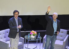 "2015 Montclair Film Festival. Comedian Stephen Colbert in the role of interviewer, arrives with actor Richard Gere for  ""In Conversation with Richard Gere,"" Stock Photography"