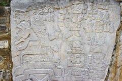 Monte奥尔本废墟的被雕刻的石头在瓦哈卡,墨西哥 库存照片