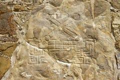 Monte奥尔本,墨西哥废墟的被雕刻的石头  免版税库存图片