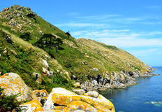 Monte Agudo (Cies Islands, Spain). The Cies Islands are an archipelago off the coast of Pontevedra in Galicia (Spain), in the mouth of the Ría de Vigo stock images
