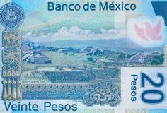 Monte Alban em México macro 2013, mim do close up da cédula de 20 pesos Foto de Stock Royalty Free