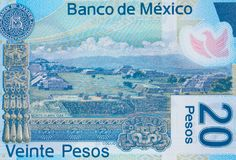 Monte Alban en la macro 2013 del primer del billete de banco de los Pesos de México 20, yo Foto de archivo libre de regalías