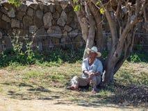Monte Alban, Oaxaca, México, Ámérica do Sul: [Homem mexicano no chapéu que coloca sob a árvore, descanso, vendendo lembranças, so foto de stock