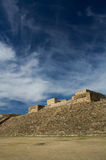 Monte Alban Oaxaca Mexico pyramid slope and sky with clouds. Monte Alban Oaxaca Mexico steep pyramid slope and sky with clouds Stock Photos