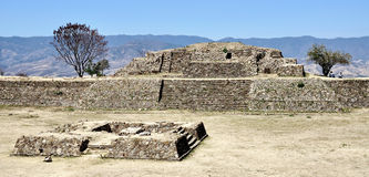 Monte Alban ruins, Mexico. Pyramide stock photography