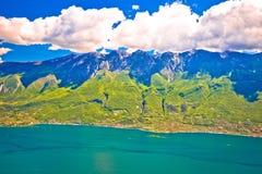 Monte Baldo mountain above Malcesine and Lago di Garda panoramic Royalty Free Stock Photo
