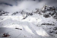 ` Monte Bianco-` Ansicht von der panoramical Terrasse von Punta Helbronner Stockfotografie