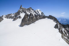 Monte Bianco massif in Alps ,Courmayeur ,Aosta Valley ,Italy. Pointe Helbronner mountain - 3462 m, Monte Bianco massif in Alps (Mont Blanc), Courmayeur ,Aosta Royalty Free Stock Photography