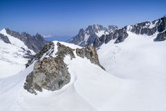 Monte Bianco massif in Alps ,Courmayeur ,Aosta Valley ,Italy. Pointe Helbronner mountain - 3462 m, Monte Bianco massif in Alps (Mont Blanc), Courmayeur ,Aosta Stock Images