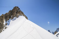 Monte Bianco massif in Alps ,Courmayeur ,Aosta Valley ,Italy Royalty Free Stock Images