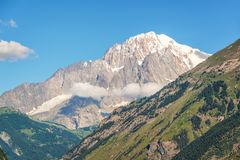 Monte Bianco Mont Blanc in the background view from Aosta Valley Italy. Monte Bianco Mont Blanc in the background view from Aosta Valley, Italy Royalty Free Stock Photos