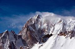 Monte Bianco. Or Mont Blanc (4807m), western Europe's Alps highest peak, right on the Italian border, seen from cable car at Helbronner peak. First climbed in Royalty Free Stock Image