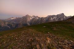 Monte Bianco o Mont Blanc ad alba, Immagine Stock