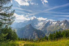 Monte Bianco o Mont Blanc in lampadina, lato italiano Fotografie Stock