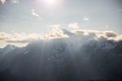Monte Bianco o Mont Blanc in lampadina, lato italiano Fotografia Stock Libera da Diritti