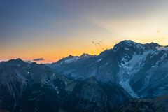 Monte Bianco sunset Mont Blanc summit 4810 m and his melting glaciers. View from 3000 m in Valle d`Aosta. Summer adventures on. The italian french Alps Royalty Free Stock Photography