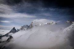 `Monte Bianco` view from the panoramical terrace of Punta Helbronner Stock Photo