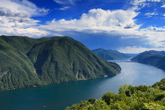 Monte Bre - Lookout over Lake Lugano Stock Images