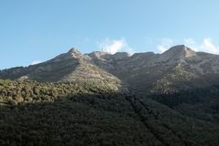 Monte Capanne and the cable car from Marciana stock photo