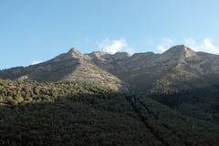 Monte Capanne i wagon kolei linowej od Marciana zdjęcie stock