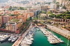 Monte - carlo Монако заречье moscow один панорамный взгляд Шлюпки, яхты и роскошь Немногие шаги от дворца ` s принца Монако Стоковое фото RF