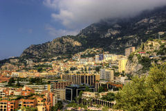 Monte Carlo. A view above houses of monte carlo in Monaco on a sunny but foggie morning Royalty Free Stock Image