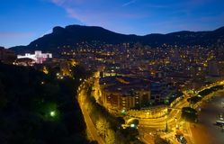 Monte Carlo. View of Monaco at night, Monte Carlo Stock Photography
