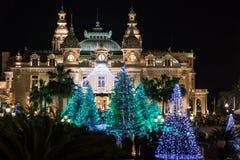 Monte Carlo Casino en la Navidad Imágenes de archivo libres de regalías