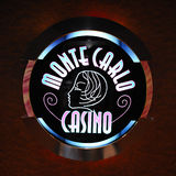 Monte Carlo Casino logo. Image of the logo of Monte Carlo Casino on famous cruise ship royalty free stock photography