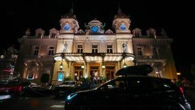 Monte Carlo Casino Monaco-de nacht-tijdspanne van de stadsstad stock video