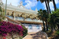 Monte Carlo Casino, Monaco - terrasser och Salle Blanche Royaltyfri Fotografi