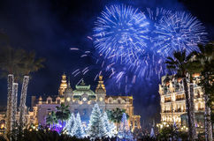 Monte Carlo Casino during New Year Celebrations. Monte Carlo Casino at night during New Year Celebrations, with fantastic fireworks stock images