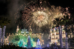 Monte Carlo Casino during New Year Celebrations. Monte Carlo Casino at night during New Year Celebrations, with fantastic fireworks Stock Photos