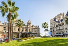 Monte Carlo Casino och hotell de Paris i Monaco Fotografering för Bildbyråer