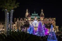 Monte Carlo Casino på jul Fotografering för Bildbyråer