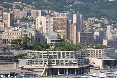 Monte-Carlo, city, urban area, metropolitan area, skyline. Monte-Carlo is city, skyline and metropolis. That marvel has urban area, cityscape and downtown and stock photo