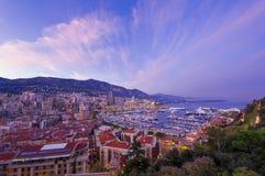 Monte Carlo city at sunset Stock Photos