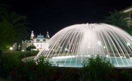 Monte Carlo fountain. And casino in Monaco Royalty Free Stock Photography