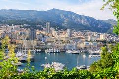 Monte - carlo hamn. Furstendöme av Monaco Arkivfoton