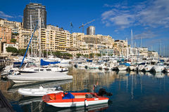 Monte Carlo harbor. Boats and Yachts in Monte Carlo harbor Royalty Free Stock Photo