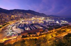 Monte Carlo harbor. Night scene of Monte Carlo harbor in Monaco Royalty Free Stock Images