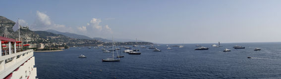 Monte Carlo Harbour Panorama Royalty Free Stock Photos