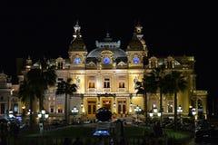 Monaco kasyno nocą Monte, Carlo kasyno (-) Obrazy Stock