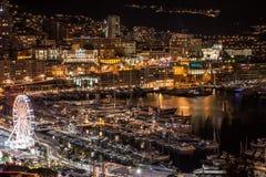 Monte, Carlo linia horyzontu przy nocą -, Francuski Riviera zdjęcie stock