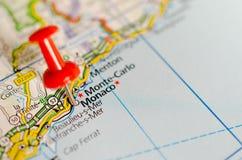 Monte - Carlo, Mônaco no mapa Imagens de Stock